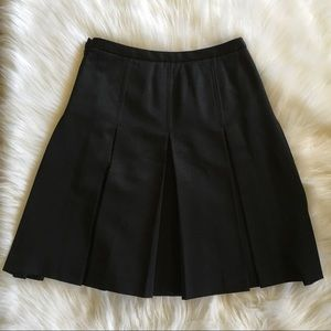 J. Crew Black Virgin Wool Pleated Midi Skirt